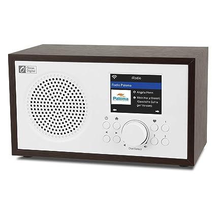 Noce + Bianco Airmusic Control APP Ocean Digital Wi-Fi Internet Radios WR100F FM Digitale Radio with Altoparlante Bluetooth e Radio Sleep Aux in 26000+ Stazioni 2.4Display a Colori