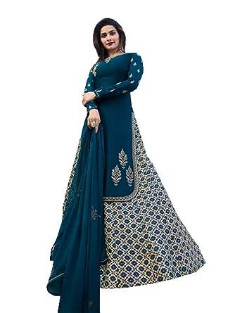 1398b3eef2 ziya Women's Ethnic Indian Pakistani Pant lahenga Salwar Kameez Vinay  (Blue, ...