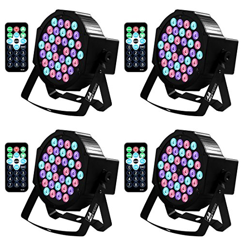 (DJ Lights, Missyee 36 X 1W RGB LEDs Sound Activated Stage Lights Package with Remote Control Compatible with DMX Controller, 9 Modes LED DJ Lights for Wedding Birthday Party Club (4 Pack))