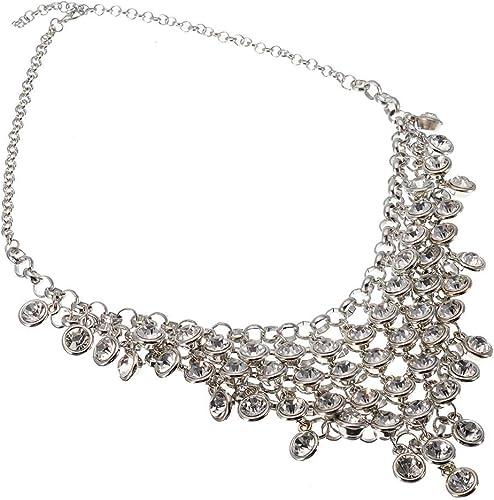 Statement rhinestone bib necklace