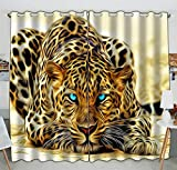 Cheap Custom Special Effect Leopard With Authentical Blue Eyes Wild Animal Print Blackout Curtains Window treatment Panel Drapes 52(W) x 84(H) inches (Two Piece)