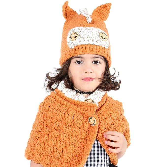 Inverno Bambino Cappelli Maglia Sciarpa Animale Cappelli Neonate Scialli  Cappello Autunno e Inverno Sciarpa a Maglia 4b52d2dfced8