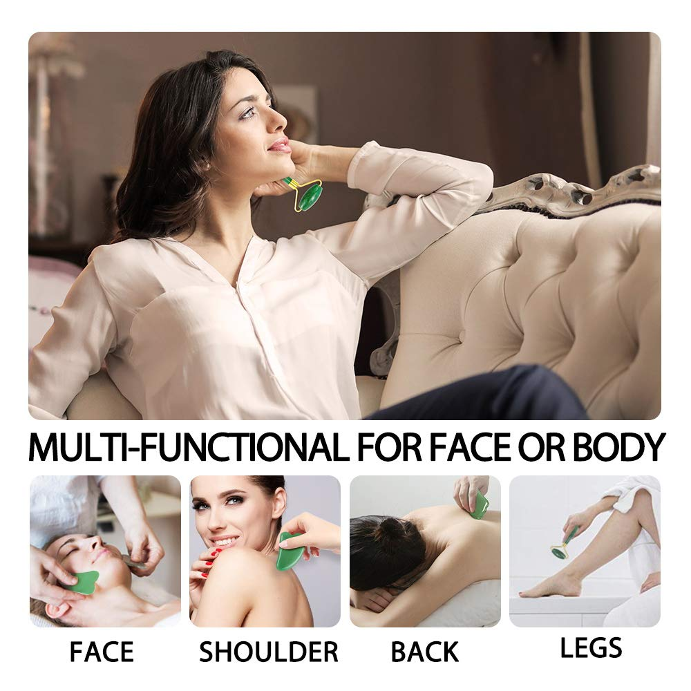 Jade Roller for Face Terresa Facial Roller Face Massager with Gua Sha Scraping Tool Eye Treatment