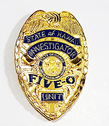 Classic Hawaii Five-O Unit, State of Hawaii Investigator - Jack Lord, Replica Movie Prop Pin Badge -