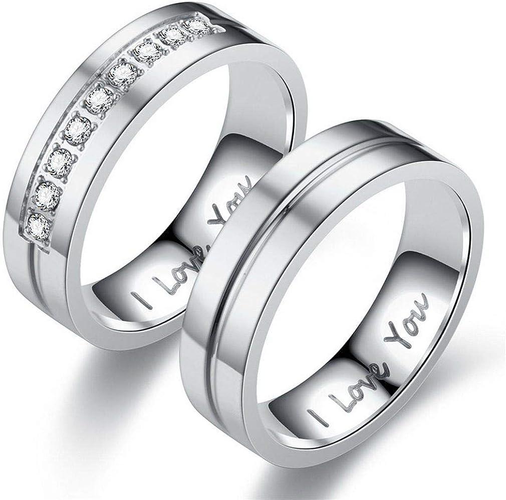 Jixin4you 1Pc Anneau Couple Cristal Bague Mode