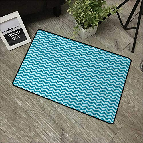 Floor mat W19 x L31 INCH Chevron,Zigzags in Sea Colors Ocean Waves Nautical Theme Sailboat Design Sea Breeze,Teal Light Blue Non-Slip, with Non-Slip Backing,Non-Slip Door Mat - Breeze Rug Tiles Sea