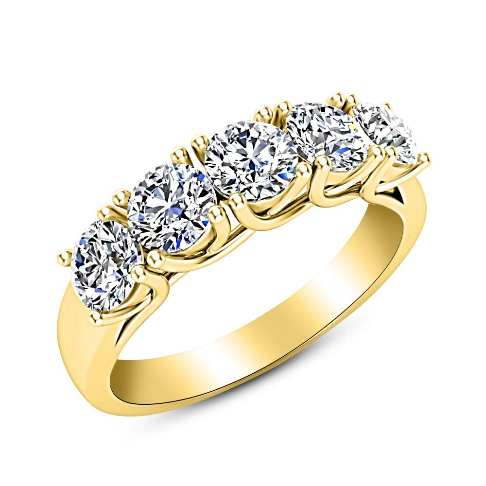 2 Carat (ctw) 14K Yellow Gold Round Diamond Ladies 5 Five Stone Wedding Anniversary Stackable Ring Band Value Collection