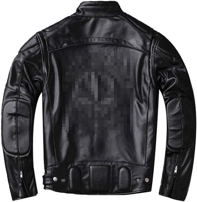 モータースタイルレザージャケット、男性冬温暖黒純正牛革コート、クラシックバイカースカルジャケット