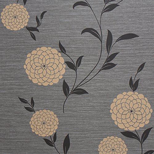 Pom Pom Black Floral Vinyl Wallpaper for Walls - Double Roll - By Romosa Wallcoverings LL7554 Backed Vinyl Wallpaper