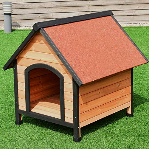 Tangkula Dog House, Wooden Pet Kennel, Outdoor Weather Waterproof Pet House, Natural Wooden Dog House Home with Reddish Brown Roof, Pet Dog House (Large, Natural Wood)