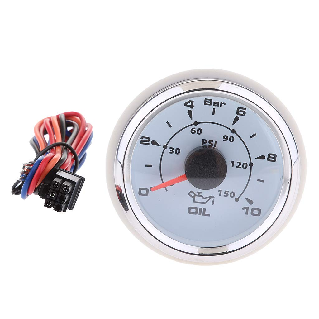 Baosity 52MM 7 Colors LED 0-150Psi/0-10Bar Oil Press Pressure Gauge Meter Car Boat - White by Baosity