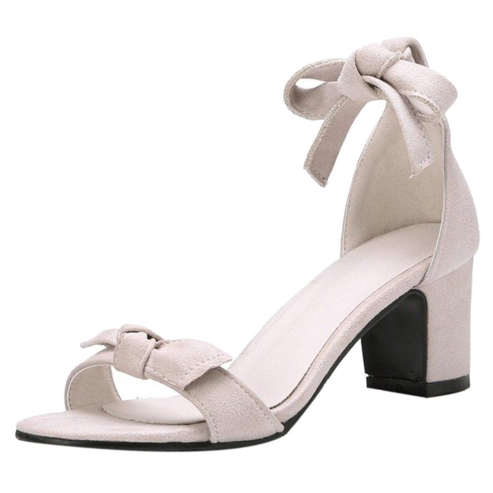 TAOFFEN Damen Schnurung Sandalen Sommer Schuhe Absatz  41 EU Beige