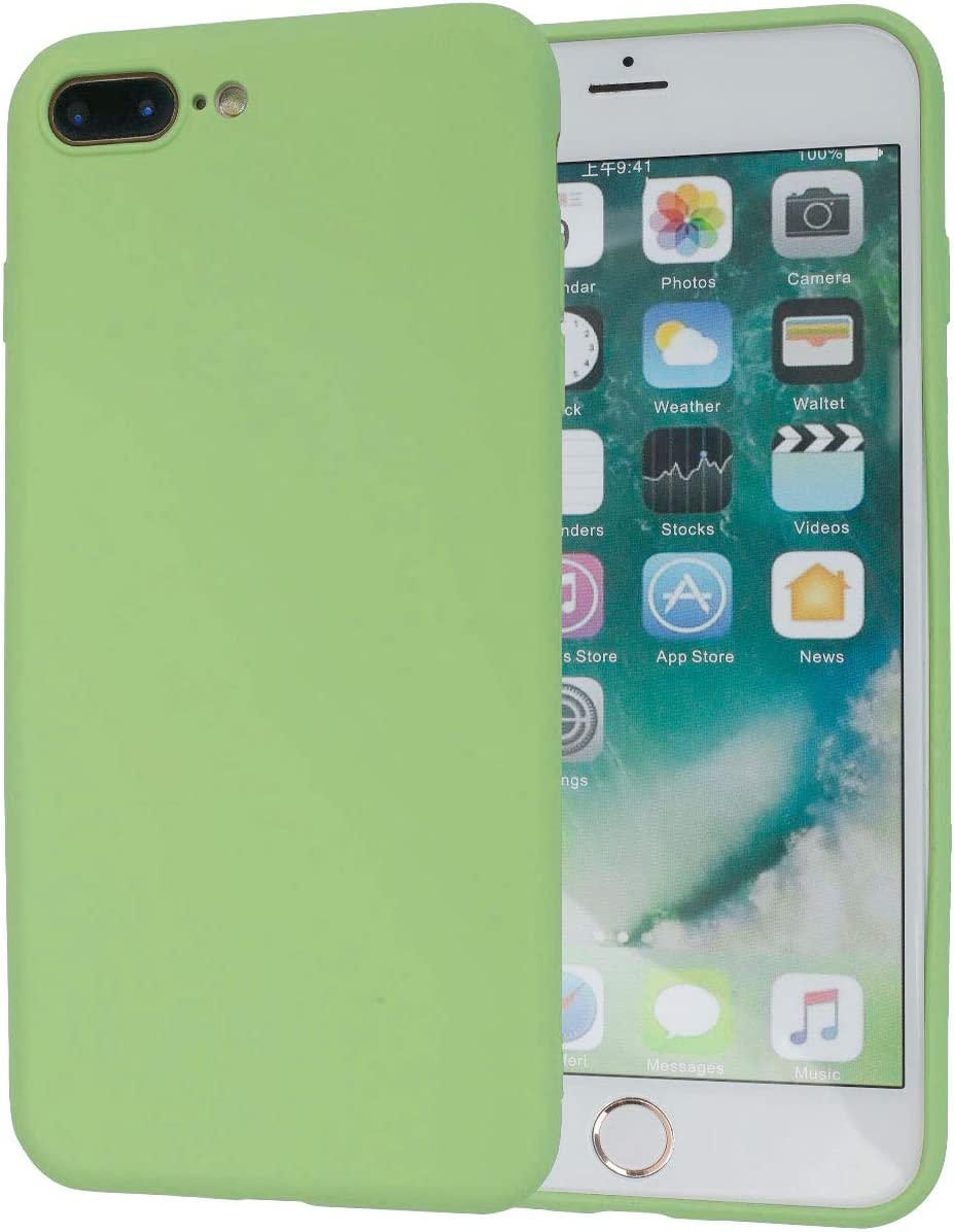 Beatuiphone Liquid Silicone Case Compatible iPhone 8 Plus iPhone 7 Plus Gel Rubber Shockproof Microfiber Cloth Lining Cushion (Matcha Green)