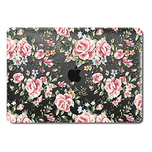 GMYLE MacBook Pro 13 Inch Case 2018 with Touch Bar, Soft-Touch Smooth Snap On Plastic Hard Black Clear Cover for Apple Mac Pro 13 A1989 A1706 A1708 2016 2017 Release - Black Case Pink Rose