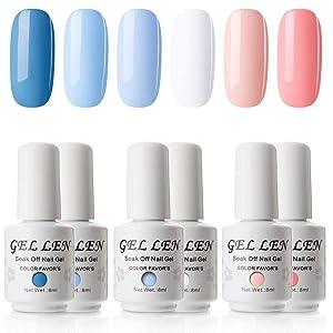 Gellen Gel Nail Polish Set - Blue Peach 6 Colors Series - Popular Spring Summer Nail Art Colors UV LED Soak Off Nail Gel Kit