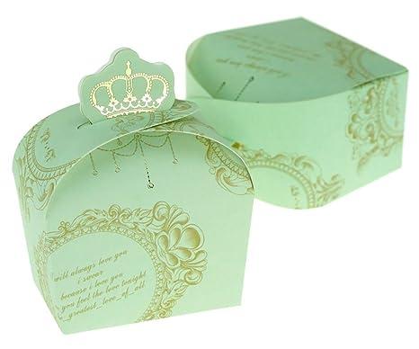 100 originales cajas de regalo con diseño de corona imperial para dulces para bodas, cumpleaños