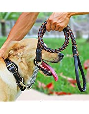 Leather Dog Leash,Comsun Braided Pet Training Leather Lead Belt 4.3ft Long 0.8 Inch Wide for Medium Large Dogs Up to 220lbs with Buffer Spring Black