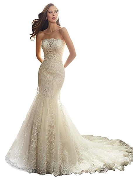 Amazon.com: xgsd Mujer Vestido de novia sin tirantes vestido ...