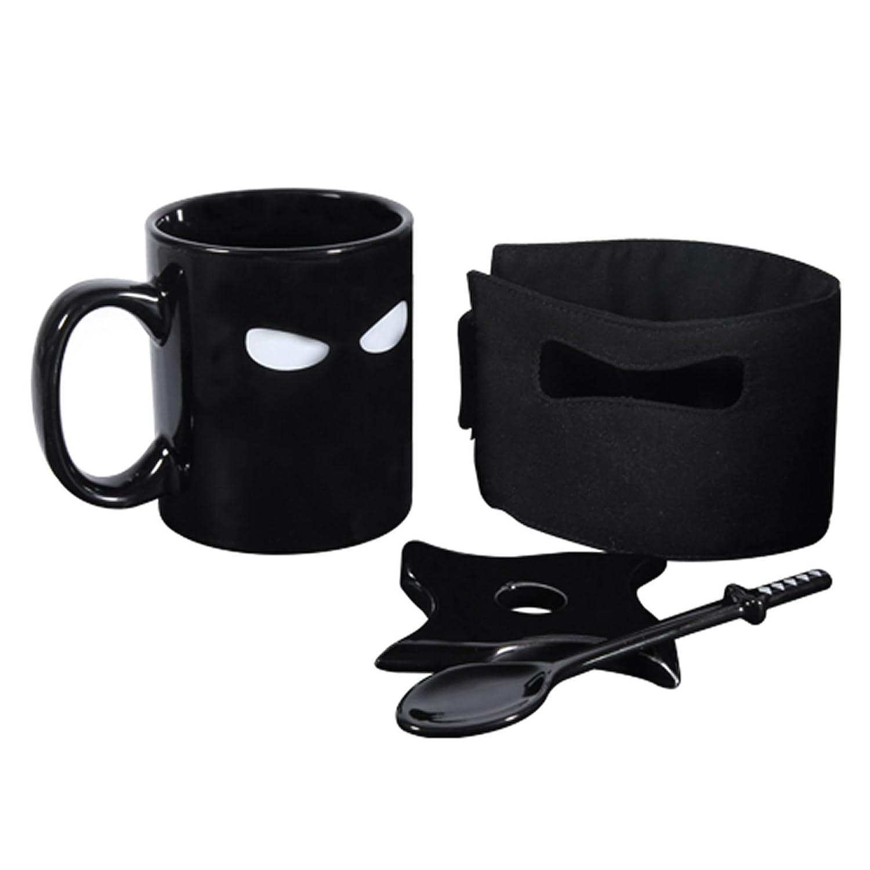 Ducomi Ninja Ceramic Cup with Drawing of Ninja with Spoon 1 Taza