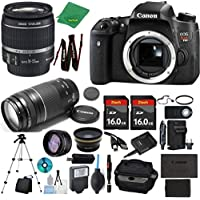 Canon Rebel T6S Camera + 18-55mm IS STM + 75-300mm III + 2pcs 16GB Memory + Case + Memory Reader + Tripod + Starter Set + Wide Angle + Tele + Flash + Battery + Charger - International Version