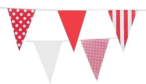 10m Rouge Et Blanc Guirlande Fanion Banderole De Decoration Red Mix