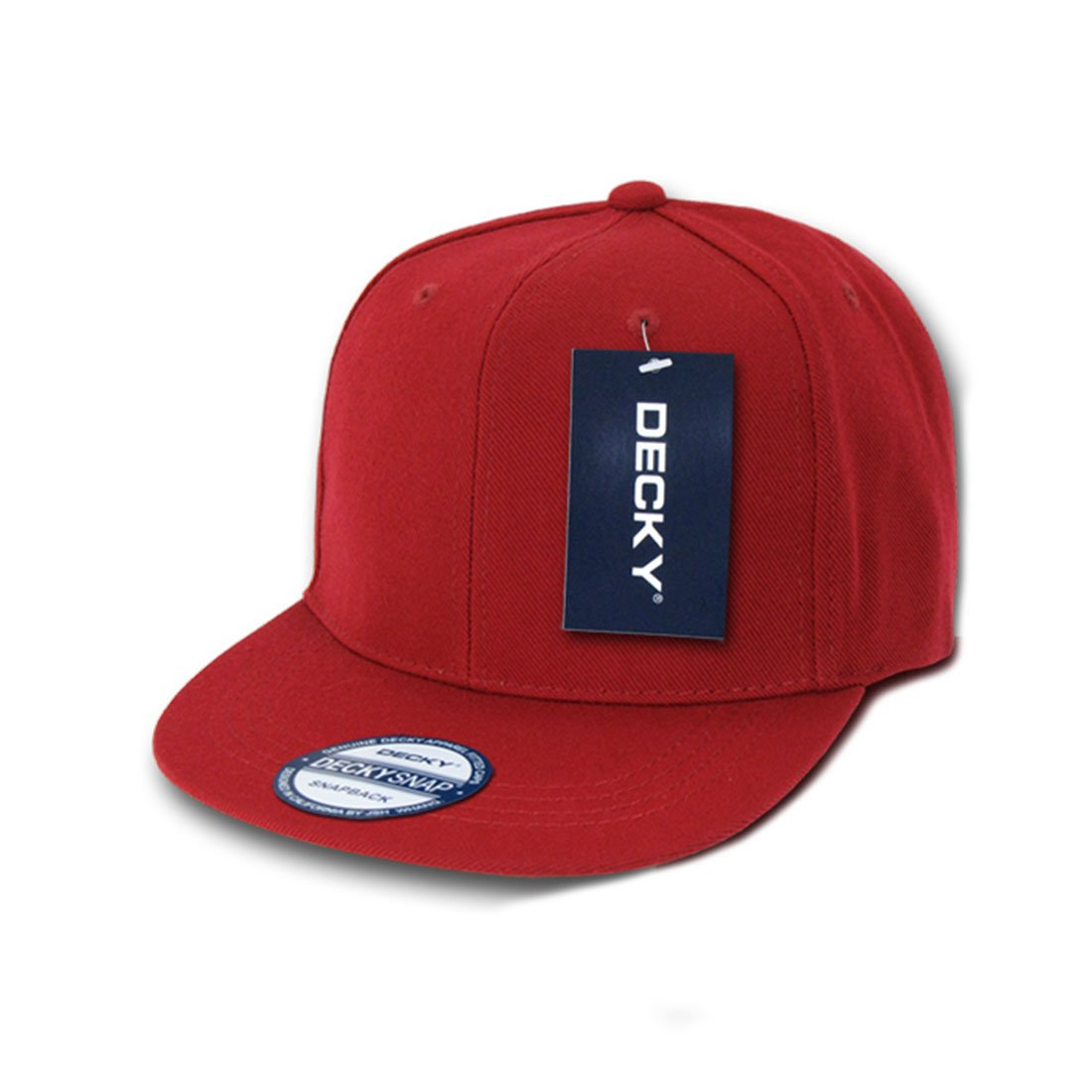 91f91eeae3c26 Amazon.com  Decky Inc Vintage Flat Bill Solid Color Snapback Baseball Caps  350 Cardinal  Clothing