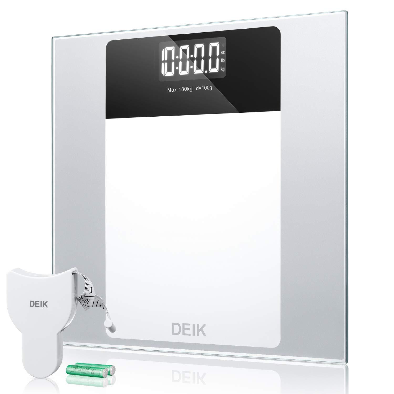 Deik Bilancia Pesapersone Digitale Tecnologia Step-on, Autospegnimento de LCD Display Retroilluminato con alta Stabilità Vetro Temperato Piattaforma, Batterie AAA e Metro Incluso, 5kg-180kg