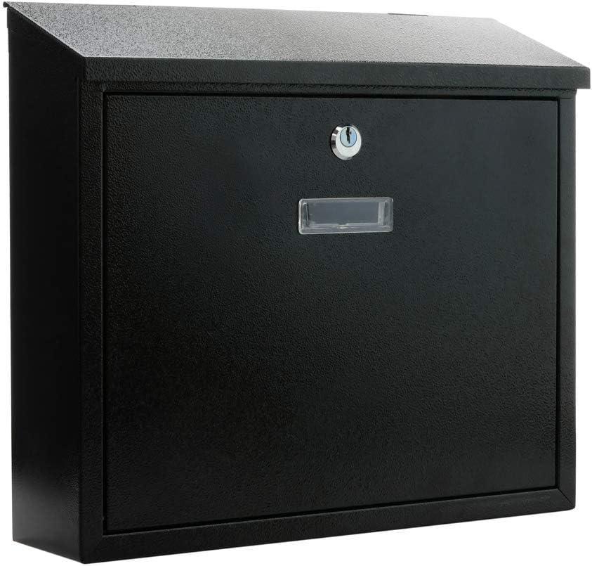 PrimeMatik - Boîte aux Lettres métallique coloré Noir pour Mur 350x90x320mm