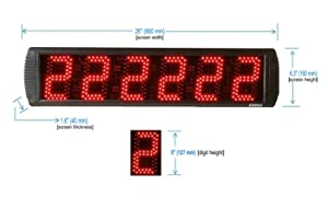 GAN XIN App-Control 5'' High 6 Digits LED Race Clock Timer with Tripod for Running Events, Countdown/up Digital Timer, 12/24-Hour Real Time Clock, Stopwatch by Remote Control (Color: Black, Tamaño: Big)