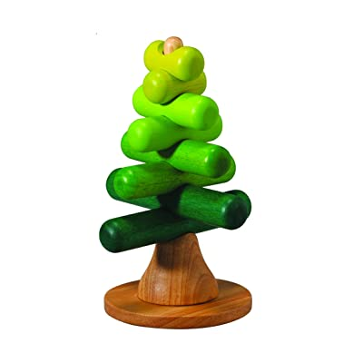 PlanToys Wooden Sorting & Stacking Tree (5149) | Sustainably Made from Rubberwood and Non-Toxic Paints and Dyes: Toys & Games