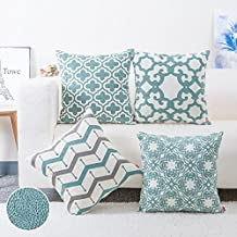 baibu 100% Cotton Decor Throw Pillow Case Embroidery Turquoise Teal Accent Pattern Cushion Cover Set of 4