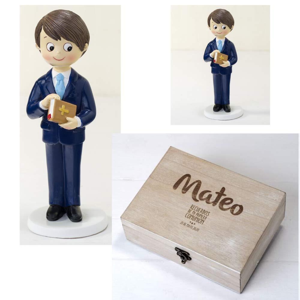 Bonita Figura ni/ño de comuni/ón con Traje Original Cofre Madera Personalizado con Nombre y Fecha Momparler1870 Pack Comuni/ón *Mis Mejores Recuerdos*