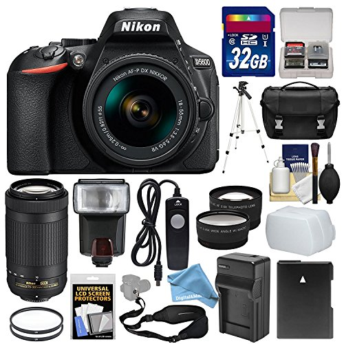 Nikon D5600 Wi-Fi Digital SLR Camera with 18-55mm VR & 70-300mm DX AF-P Lenses + 32GB Card + Case + Flash & DigitalAndMore Free Deluxe Accessory Kit Bundle (Black Friday / Cyber Monday Deal!)