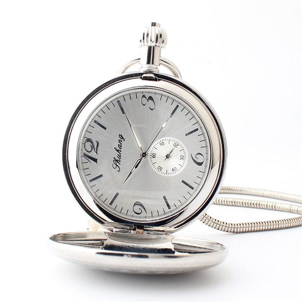 Zxcvlina Classic Smooth Exquisite Silvery Pocket Watch Men Women Creative Mechanical Pocket Watch with Chain for Birthday Gift Suitable for Gift Giving by Zxcvlina (Image #4)