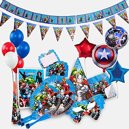 Captain America Decorations (GK Galleria Avengers Party Supplies for 15 Superhero Guests with 200 Plus Items - Superhero Party Supplies - Avengers Birthday Party Supplies Decoration - Marvel Party Supplies - Captain America)