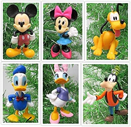 Disney MICKEY MOUSE 6 Piece Ornament Set Featuring Mickey Mouse  Minnie Mouse  Donald Duck  Daisy Duck  Goofy and Pluto  Ornaments Average 2 5 Inches Tall