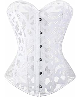 4bbe98dd6c3 Meelino Women Sexy Gothic Mesh Floral Print Hollow Out Overbust Corset  Bustier
