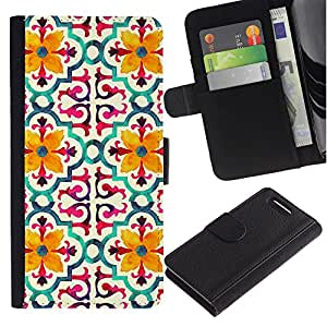KingStore / Leather Etui en cuir / Sony Xperia Z1 Compact D5503 / Modelo de flor estilizada Amarillo