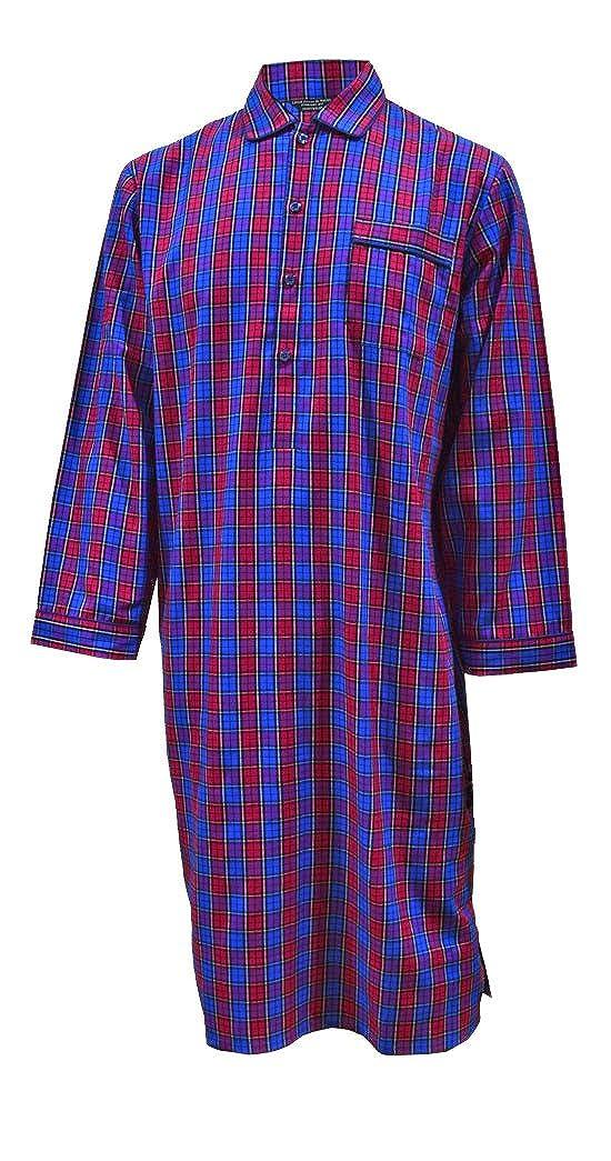 Blu Camicia da Notte a Quadri Puro Cotone Rosso Uomo