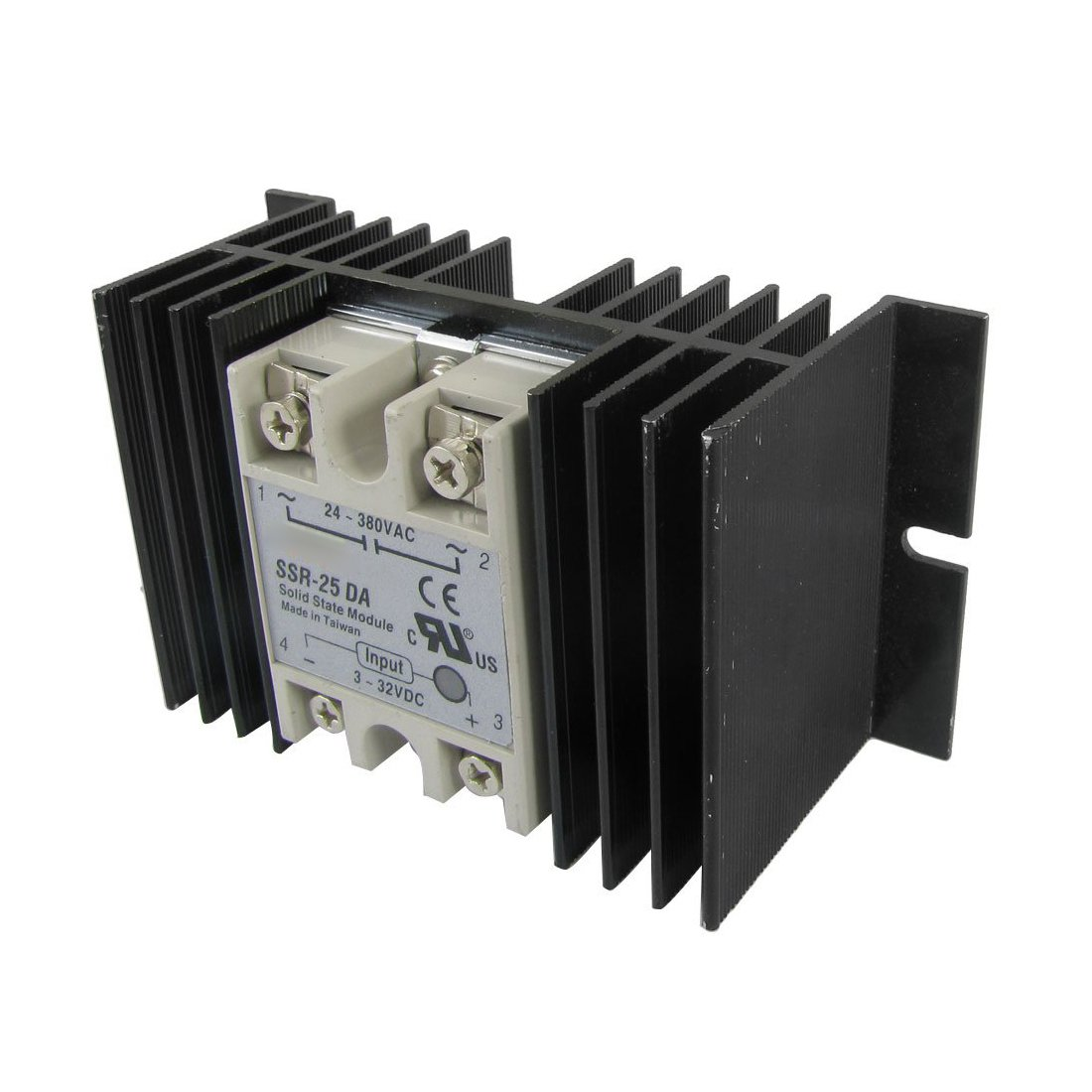 TOOGOO(R) DC to AC Solid State Relay SSR-25DA 25A 3-32V 24-380V + Aluminum Heat Sink by TOOGOO(R)