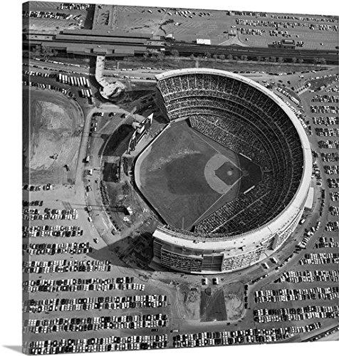 Canvas On Demand Premium Thick-Wrap Canvas Wall Art Print entitled Aerial view of Shea Stadium in Queens, New York, 1970 (Shea Stadium Baseball)