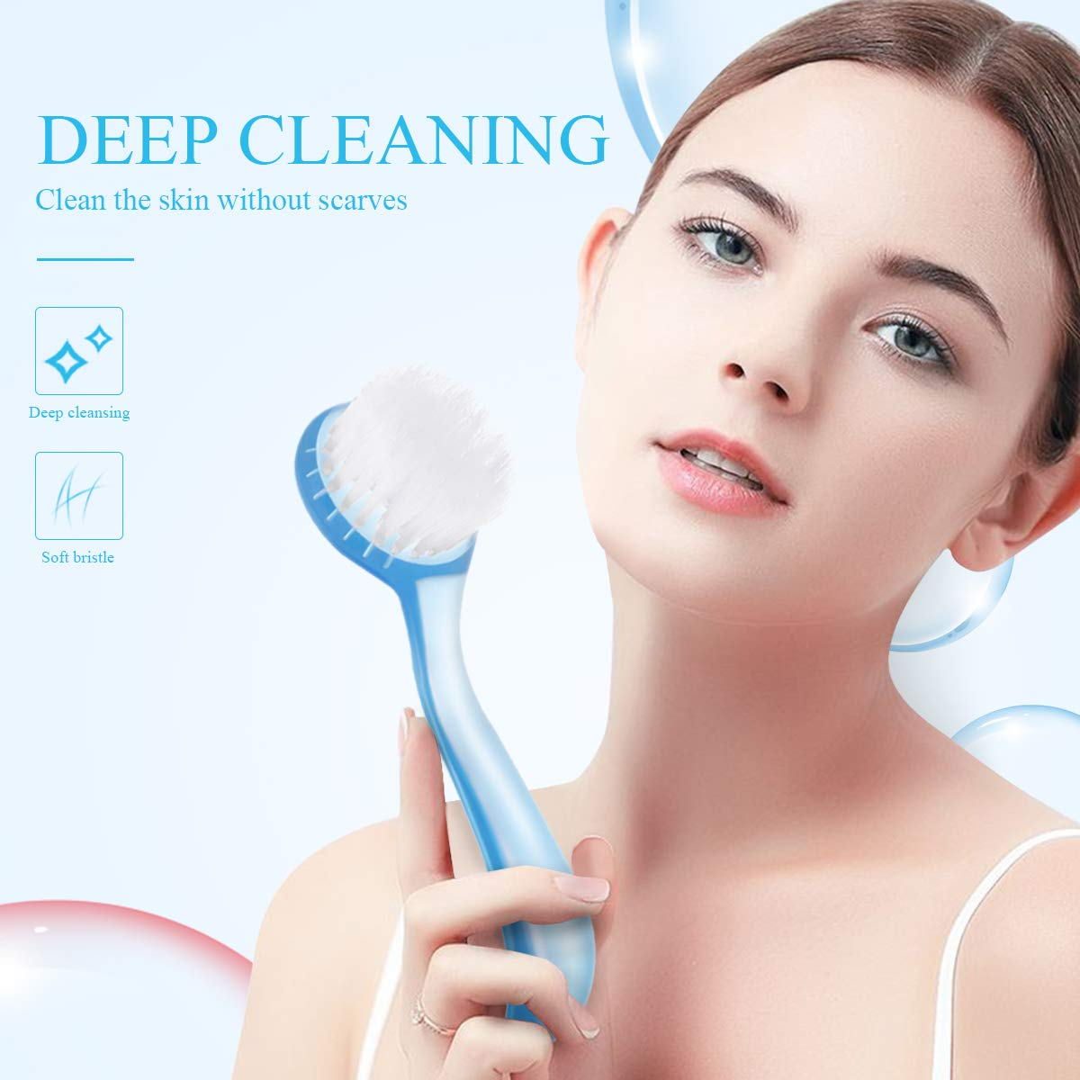 Face Brush with Cap for Cleansing and Exfoliating to Massage and Deep Pore Exfoliation, Wash Makeup, Massaging (8PCS)