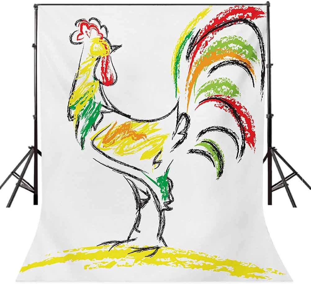 Gallus 10x15 FT Photo Backdrops,Rooster Chicken Tail Farm Animal Oil Pencil Drawing Effect Child Children Artwork Background for Party Home Decor Outdoorsy Theme Vinyl Shoot Props Multicolor