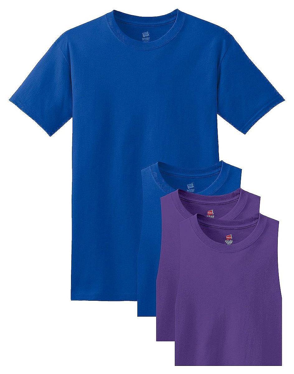 2 Deep Royal // 2 Purple 2XL Hanes Mens 4 Pack Comfortsoft T-Shirt Pack4