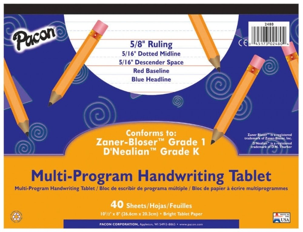 Pacon MULTI-PROGRAM TABLET 5/8 Ruled (2480)