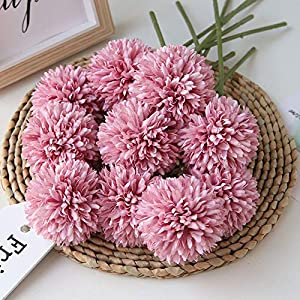 Homyu Artificial Flowers Chrysanthemum Ball Flowers Bouquet 10pcs Present for Important People Glorious Moral for Home Office Coffee House Parties and Wedding Without Craft Paper(Fuchsia) 12