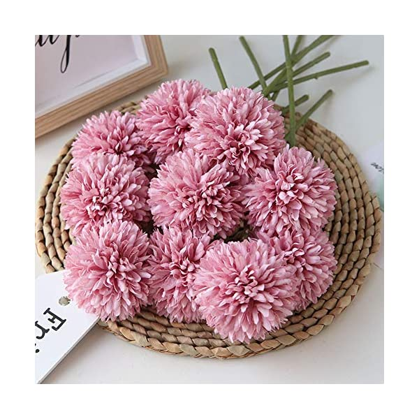 Homyu Artificial Flowers Chrysanthemum Ball Flowers Bouquet 10pcs Present for Important People Glorious Moral for Home Office Coffee House Parties and Wedding(Fuchsia)