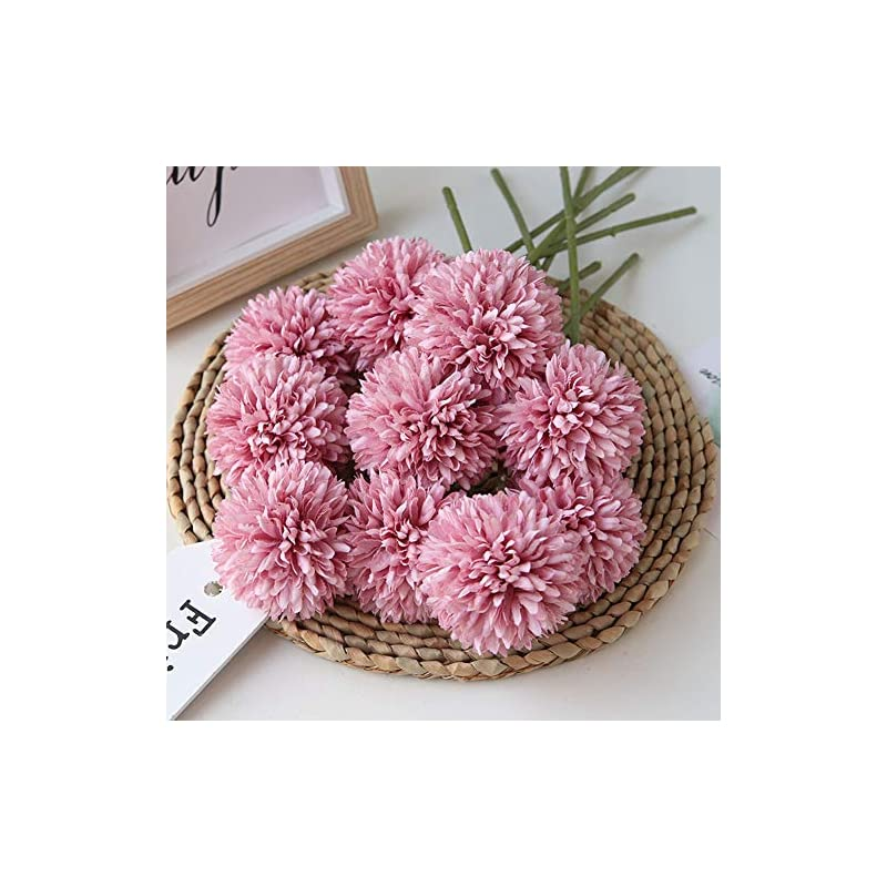 silk flower arrangements homyu artificial flowers chrysanthemum ball flowers bouquet 10pcs present for important people glorious moral for home office coffee house parties and wedding(fuchsia)
