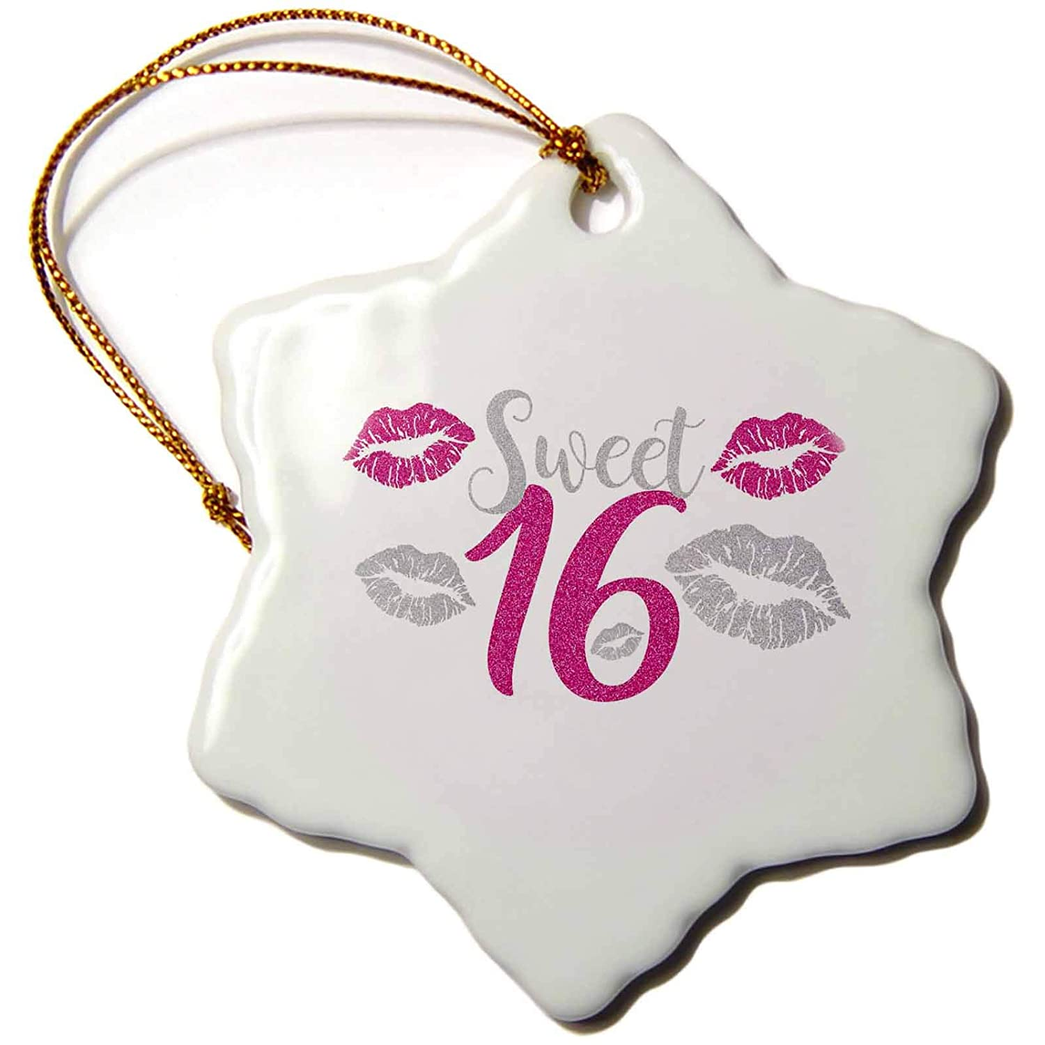 3dRosePurple and Silver Kisses for Sweet Sixteen Birthday Birth Gift Snowflake Ornament 3