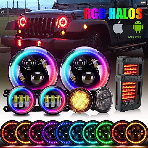 T-Former DOT 7 Inch LED RGB Halo Headlights 4 '' Fog Lights Multi Color Angel Eye Bluetooth Controlled + Amber Turn Signal Lights + Tail Lights Clear Lens for 2007-2017 Jeep Wrangler JK JKU